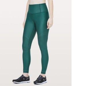 """Lululemon Zoned In Tight Leggings 27"""" Green Yoga"""
